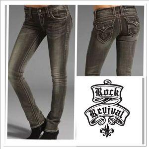 Rock revival Christina straight gray jeans